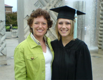 Linda and Jessica after her niece's commencement ceremony